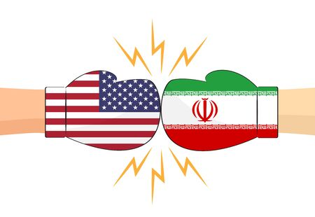 Boxing gloves between USA and Iran flags on white background - Vector illustration 向量圖像