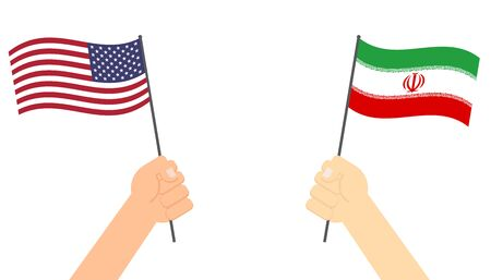 Hands holding flag between USA and Iran face to face for competition - Vector illustration