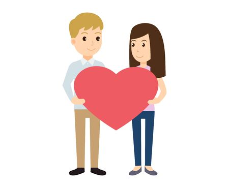Couple in love holding heart shape for valentines day - Vector illustration  イラスト・ベクター素材