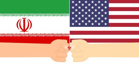 Fist hands fighting eachather on flags between USA and Iran - Vector illustration