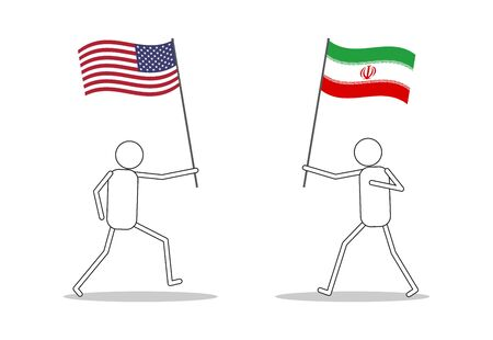 Character icons holding flag between USA and Iran face to face because conflict and war - Vector illustration 向量圖像