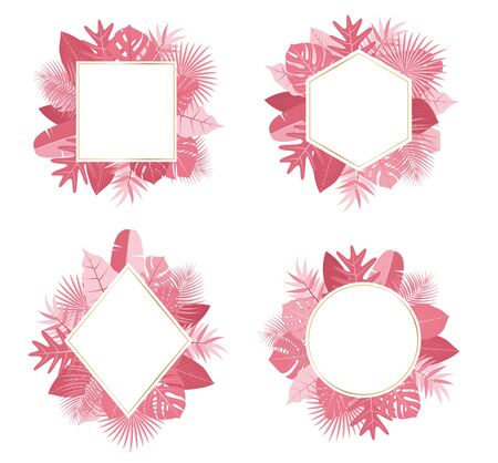 Collection of exotic botanical design tropical pink leaves frame vector set on white background - Vector illustration