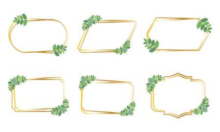 Collection of golden frames with green leaves design vector set Çizim