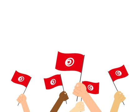 Vector illustration of hands holding Tunisia flags on white background