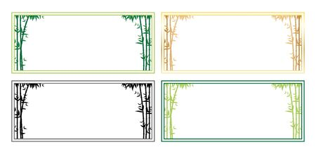 Collection of bamboo template frame vector set - Vector illustration