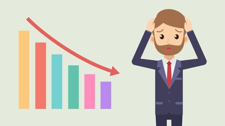 Stressful businessman with graph falling down - Vector illustration
