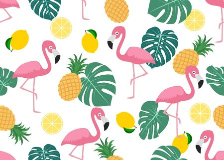 Seamless pattern of cute flamingo with tropical leaf ,lemon and pineapple on white background - Vector illustration