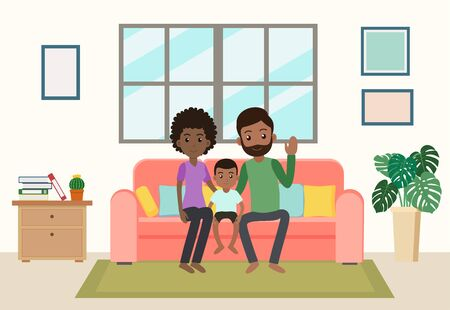 Cartoon happy african family stay home on sofa in the living room - Vector illustration Ilustração