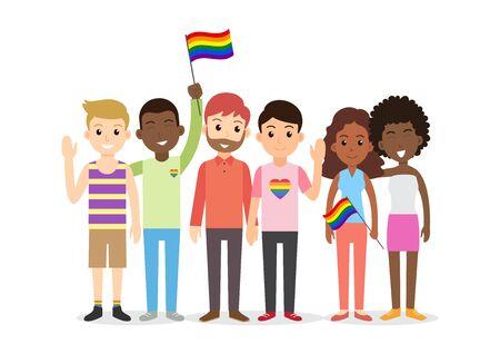 Groupe de personnes interraciales de dessin animé mignon de LGBT - illustration vectorielle