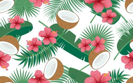 Seamless pattern of tropical floral and leaves with coconut on white background - Vector illustration Иллюстрация