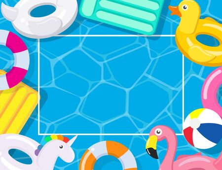 Pool party frame with pool floats on swimming pool background - Vector illustration