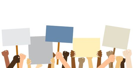 Hands crown people holding protest posters isolated on white background  - Vector illustration