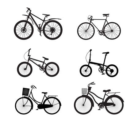 Bicycle silhouette vector set isolated on white background - Vector illustration Vecteurs
