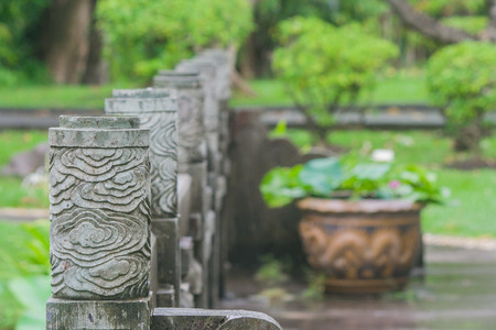 Attrayant Close Up Row Of Chinese Fence Pillar In Chinese Pagoda And Garden With  Green Natural Background
