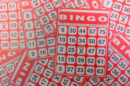 Business Success Concept : Red bingo card in vintage style.