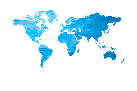 World Water Day Concept : Blue water with world map shape isolated on white background. Stock Photo