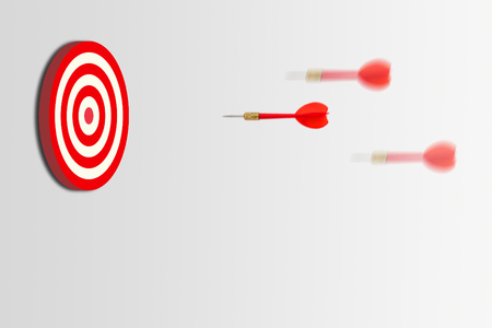Business Marketing Concept : Many red darts rushing to dartboard.