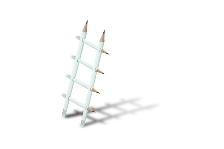 Business Idea Concept : White pencil ladder with shadow isolated on white background.