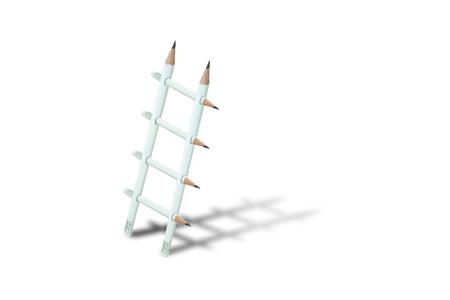 Geschäftsidee-Konzept: Weiße Bleistiftleiter mit Schatten lokalisiert auf weißem Hintergrund. Standard-Bild