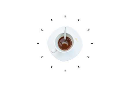 Time Management Concept : Coffee and spoon in white cup put on white saucer with part of clock isolated on white background.