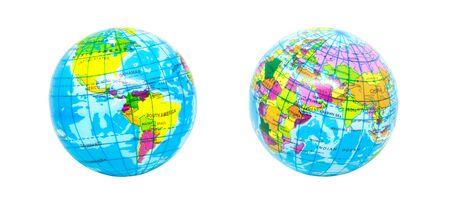Close up world globe or orb model toys isolated on white background.
