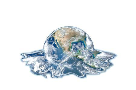 Concept de réchauffement climatique et de pollution : planète bleue globe terrestre fusion isolé sur fond blanc.
