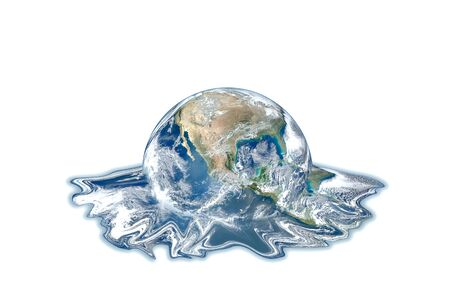 Global Warming and Pollution Concept : Blue planet earth globe melting isolated on white background.