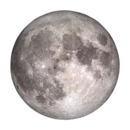 Full Moon view from space isolated on white background. Stock Photo