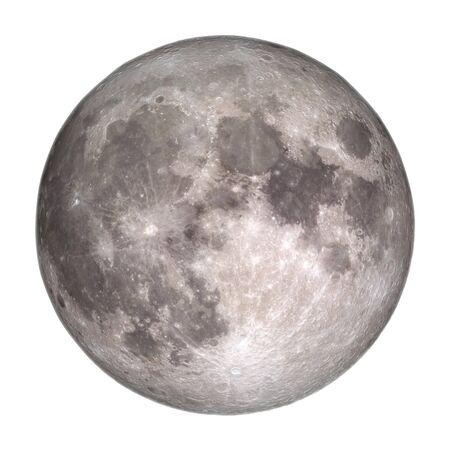 Vista della luna piena dallo spazio isolato su sfondo bianco. Archivio Fotografico