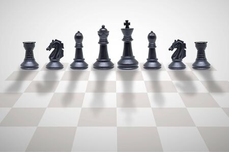 Business Competition Concept : Wooden chess pieces standing on chess board. Imagens