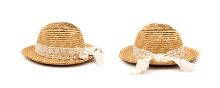 Group of round-brimmed hat or wicker weaving hat isolated on white background.