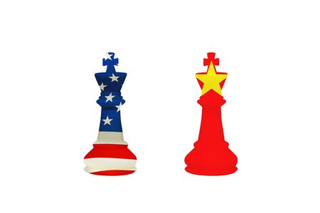Business Competition Concept : USA and China chess pieces isolated on white background.