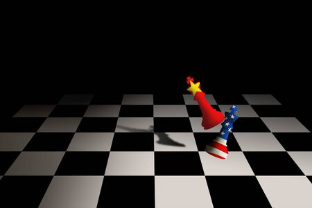 Business Competition Concept : USA and China chess pieces fighting on chessboard. Banco de Imagens - 130576605