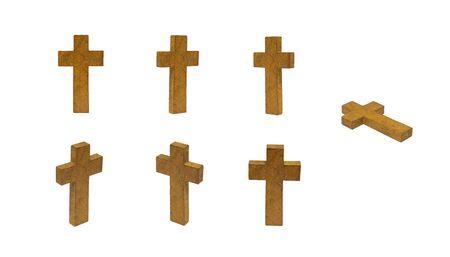 Gruppo di croce di legno isolato su sfondo bianco.