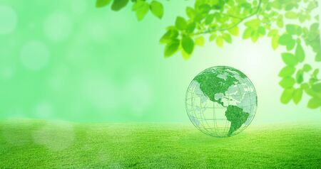 Ecology and Environmental Concept : Green planet earth globe with green trees in background. Stock Photo