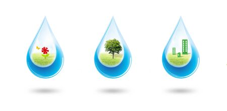 Ecology and Environmental Concept : Green trees, flowers and buildings in blue water drop falling to floor. Stock Photo