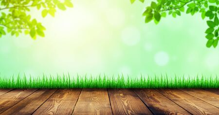 Wooden table and green grass with green leaves and sunlight in background.