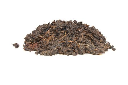 Pile heap brown soil or fertile soil for planting isolated on white background.