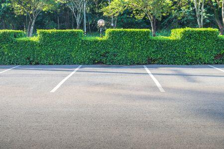 Lege ruimte van de parkeerplaats met groene struik op de achtergrond.