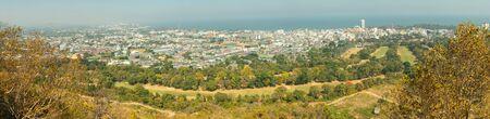 Panorama cityscape image of Huahin city from Khao Hin Lek Fai Viewpoint, Hua Hin, Thailand.