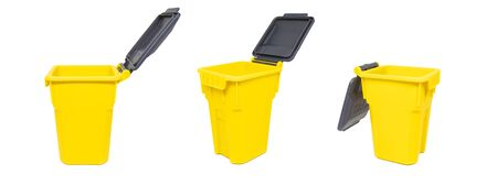 Set of yellow plastic bins or garbage trash isolated on white background. Stock Photo