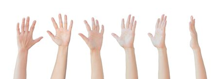 Set of Caucasian female hands gesturing and raising up over head isolated on white background. Archivio Fotografico