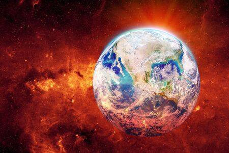 Global Warming and Pollution Concept : Blue planet earth warming and red fire growing around earth. (Elements of this image furnished by NASA.) Stock Photo