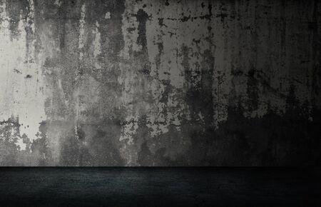 Abstract Black and White of Studio dark room black concrete grunge wall with concrete floor. Archivio Fotografico