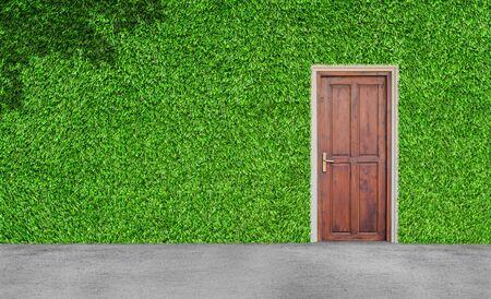 Interior and Exterior Design Concept : Wooden door on green artificial grass wall with concrete floor.