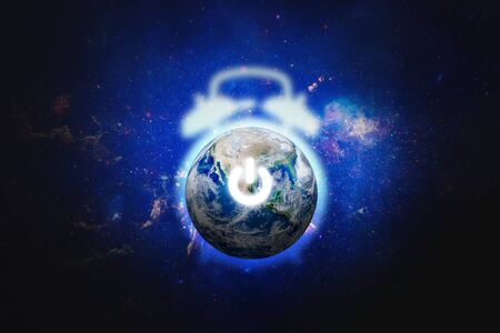 Earth Hour, Ecology and Environment Concept : Blue planet earth in the space electric power button for Earth Hour Event. ( .) Banco de Imagens