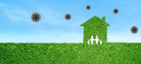 Stay Home and CORONA Virus Prevention Concept : Family icons stay in home icons on green artificial grass field to quarantine and protect corona virus.