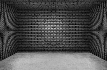 Empty space of Studio dark room black brick wall and concrete floor.