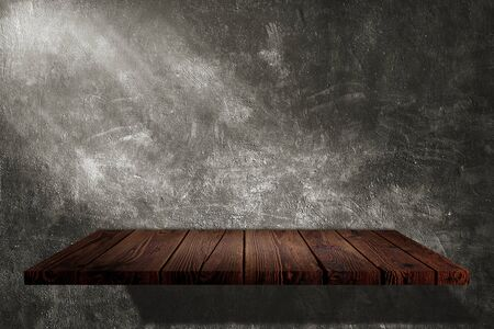 Empty space dark room of Black concrete grunge texture background with wooden shelf and spotlight.