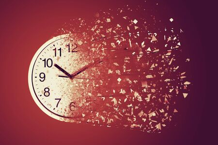 Time Management Concept : White wall clock break down and dispersion to particle. 스톡 콘텐츠